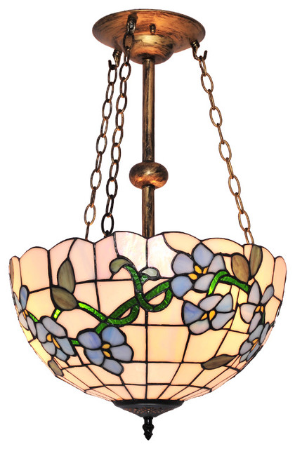 Tiffany Style Blue Flower Pattern Stained Glass Chandelier