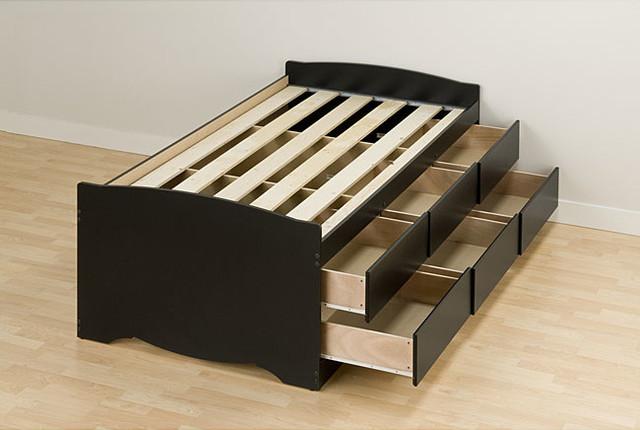Black Twin 6-drawer Captainu0026#39;s Platform Storage Bed ...