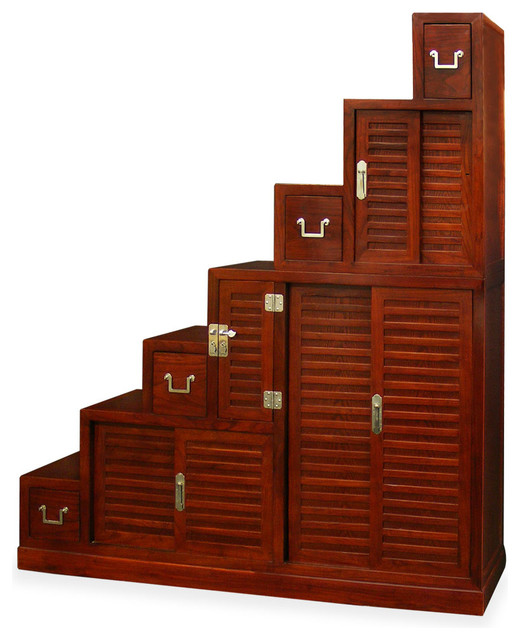 Elmwood Japanese Style Step Tansu - Asian - Accent Chests And Cabinets - by China Furniture and Arts