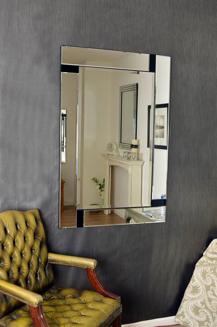 Large modern all mirror glass black venetian mirror for Black venetian mirror