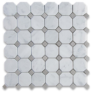 Carrara White Marble Octagon Mosaic Tile - Traditional - Mosaic Tile - by Stone Center Online
