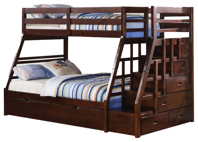 Espresso Wood Stairway Chest Twin Over Full Bunk Bed W/ Trundle Step Stairs