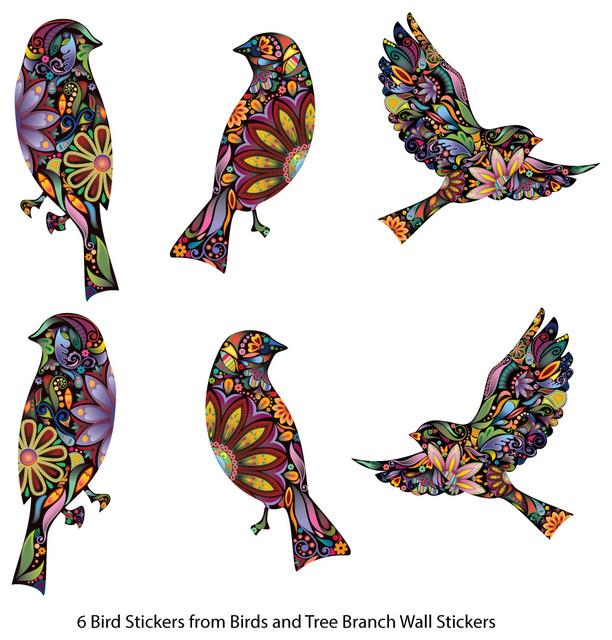 Bird Stickers In Lovely Flower Pattern Set Of 6 Bird