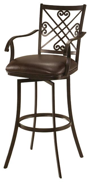 Savannah Swivel Barstool With Arms Traditional Bar