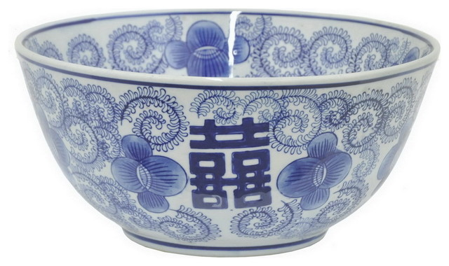 Three Hands Ceramic Blue And White Bowl Asian Decorative Bowls