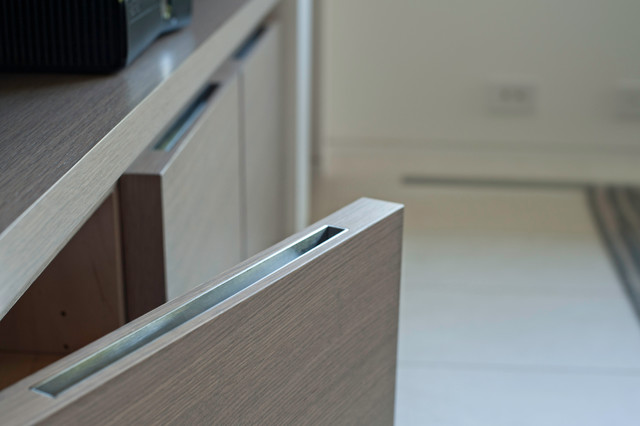 Custom Made Recessed Pull Modern Cabinet And Drawer