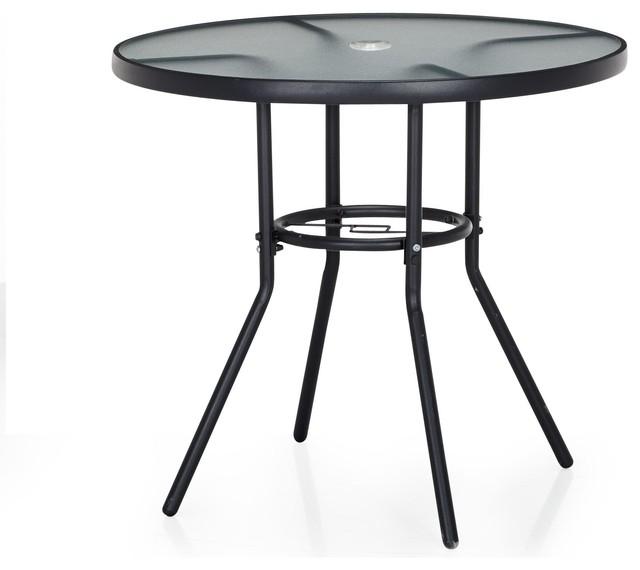 photos  divio table ronde d exterieur dcm en verre et acier contemporain de jardin bistrot