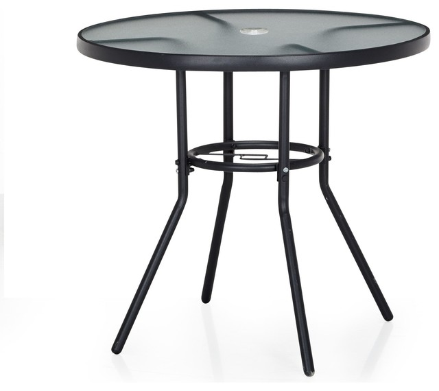 Divio table ronde d 39 ext rieur d75cm en verre et acier for Table exterieur alinea