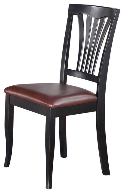 Set of 2 avon chair for dining room with faux leather seat for Leather seat dining chairs