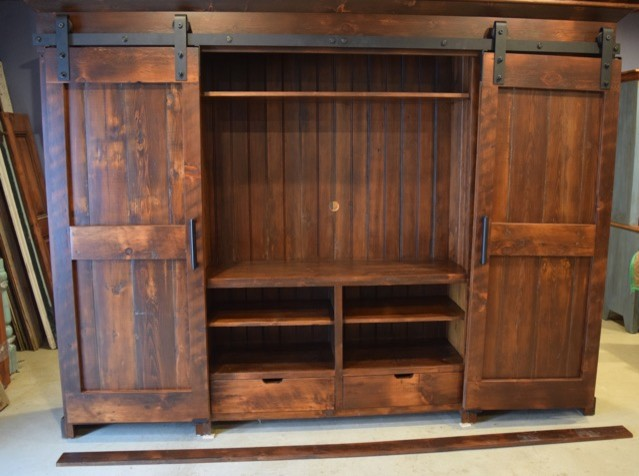 Door Entertainment Cabinet - Farmhouse - Entertainment Centers And Tv ...