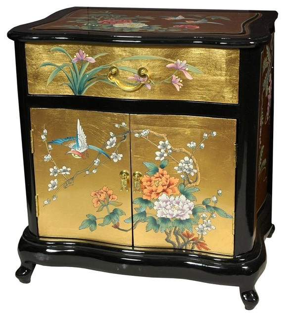 Gold Leaf End Table W Queen Anne Legs Contemporary Side Tables End Tables By Shopladder