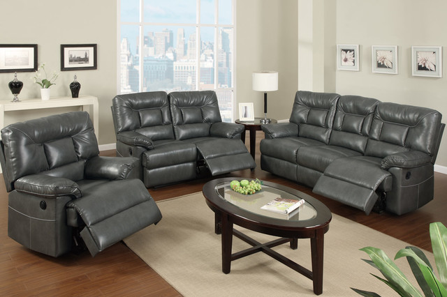 Modern Gray Leather Reclining Sofa Loveseat Power Motion