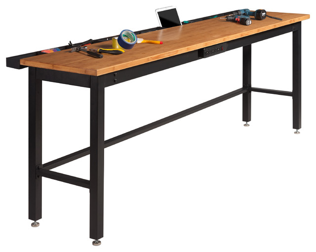 "NewAge 96"" Work Bench with Bamboo Top and Powerbar - Industrial - Garage And Tool Storage - by ..."