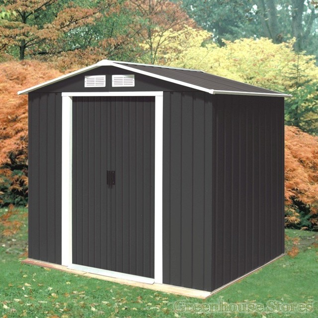 Emerald anthracite parkdale 6x6 metal shed sheds west for Garden shed 6x6