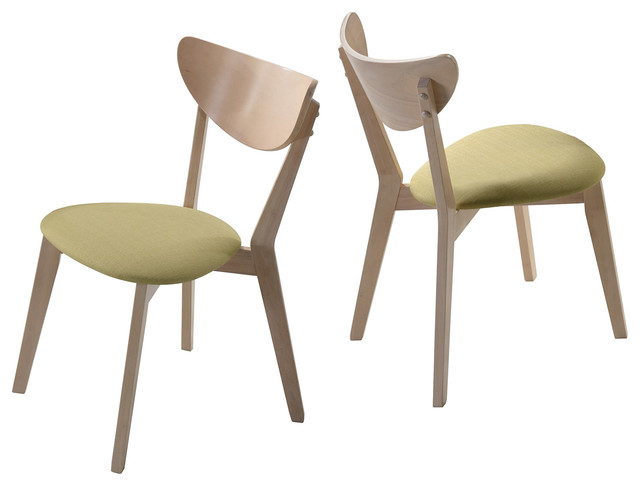 2 Piece Mid Century Modern Upholstered Wood Dining Side Chairs Contemporary