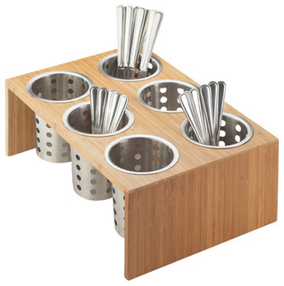"""Bamboo Cylinder Silverware Display, 5.5"""" - Contemporary - Utensil Holders And Racks - by ..."""