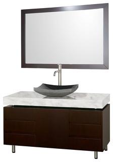 Malibu 48 Espresso Vanity Carrera Marble Top Altair Sink Modern B