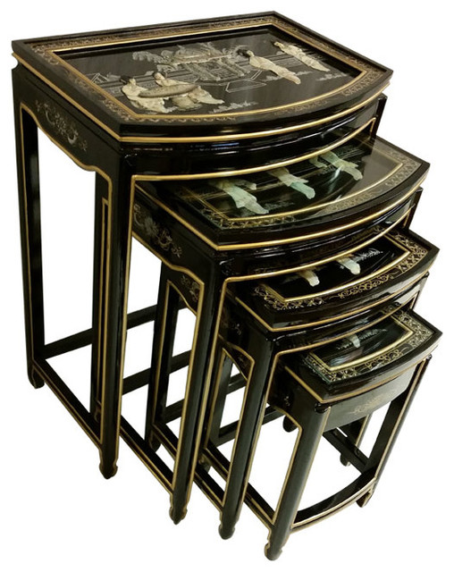 Set of four black lacquer asian stacking tables
