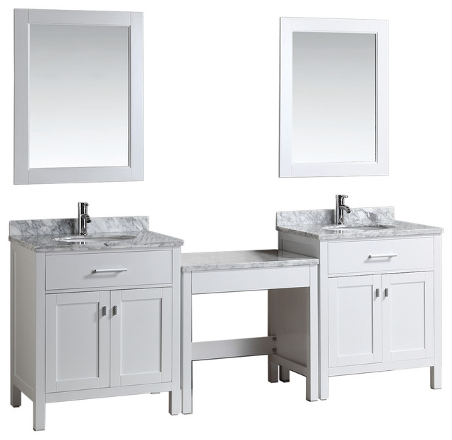 Two London Single Sink Vanity Set With Make Up Table Transitional Bathroo