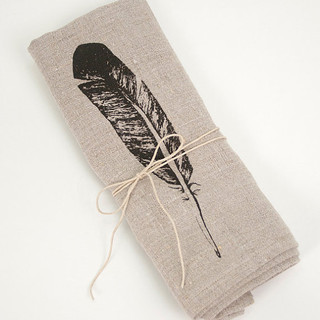 Feather Linen Napkin by Tangerine - Modern - Napkins - by Etsy