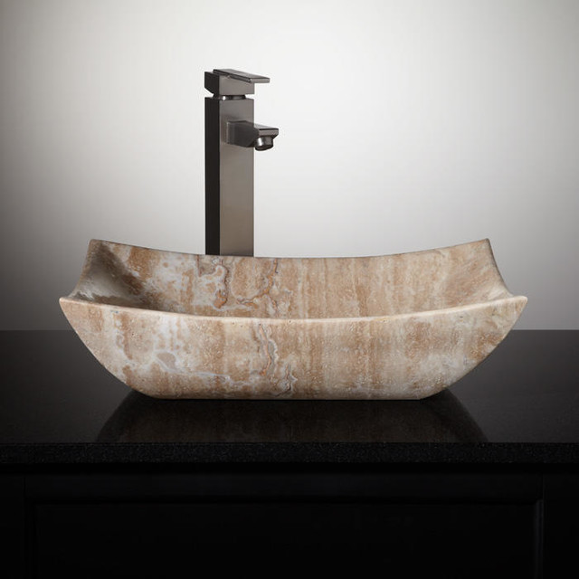 Small Rectangular Vessel Sink : ... Rectangular Beige Travertine Vessel Sink traditional-bathroom-sinks