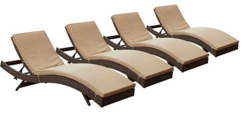 Peer chaise outdoor patio set of 4 brown mocha barcelona for Barcelona chaise lounge set