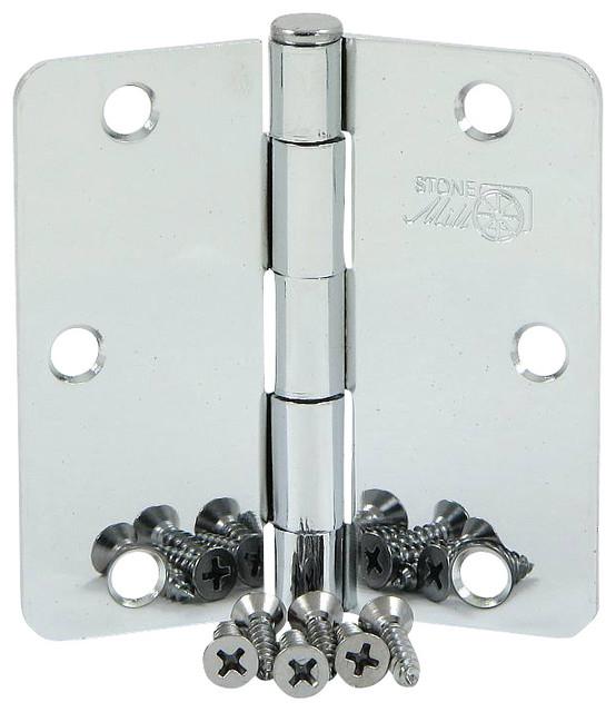 """Stone Mill Hardware 3.5"""" Polished Chrome Door Hinge 1/4 ..."""