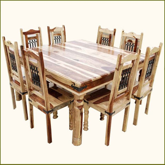 Square Table Seats 8: 9pc Rustic Square Dining Room Table Chair Set For 8 People