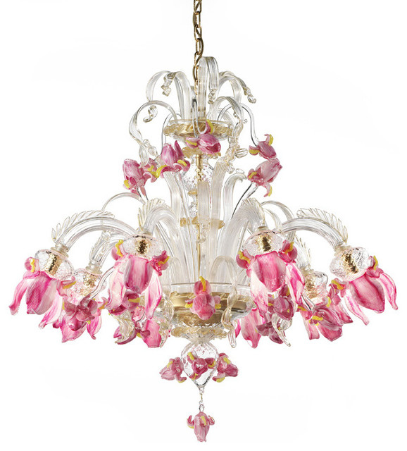 Delizia Eight Lights Pink Flowers Murano Glass Chandelier Traditional Chandeliers Other