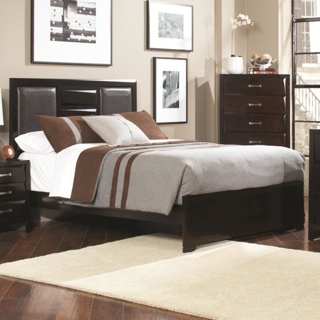 Wood And Leather Headboard: Coaster Palmetto Cappuccino Queen Bed With Faux Leather