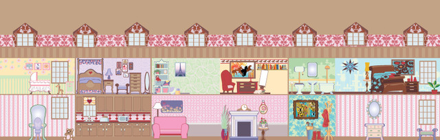 Dollhouse Wall Mural - Contemporary - Wallpaper - by Murals Your Way