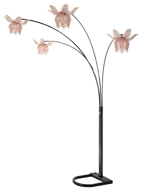 Flower Arch Floor Lamp, Brass, Black Shades, Black, Pink Shades - Traditional - Floor Lamps - by ...
