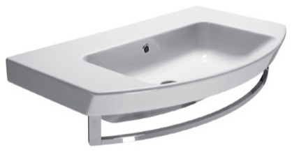 Wall Mount Sink No Faucet Hole : Sleek Curved Wall Mounted or Vessel Bathroom Sink, No Faucet Holes ...