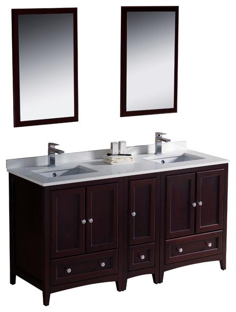 fresca oxford double sink vanity w side cabinet