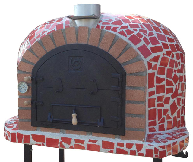 Outdoor garden wood fired pizza oven w mosaic cast for Four pizza exterieur