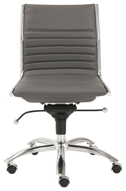 Eurostyle dirk low back armless office chair in gray chrome contemporary office chairs - Armless office chairs uk ...