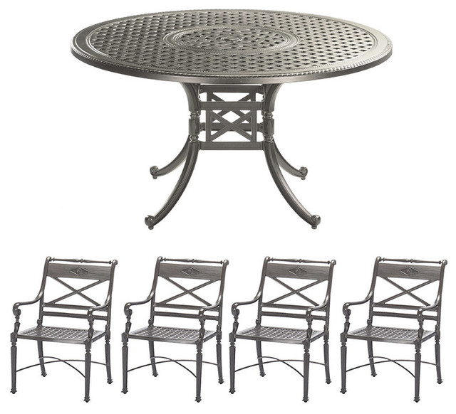carlisle 5 pc round outdoor dining set in gray finish