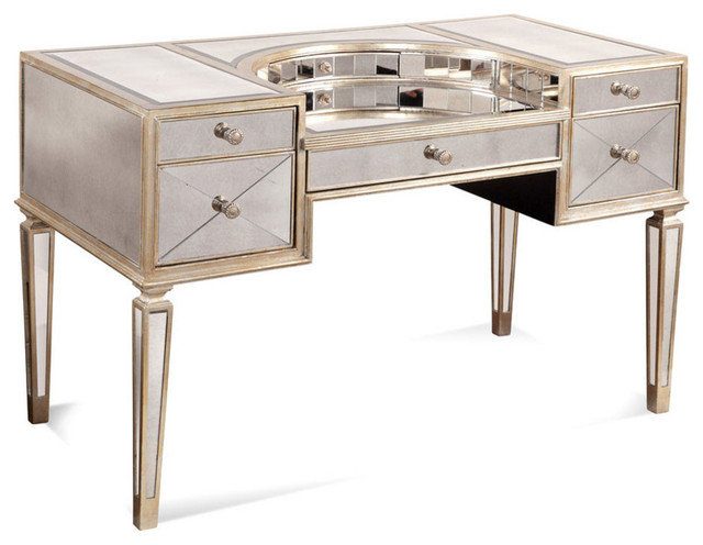 borghese mirrored vanity desk contemporary bedroom and makeup vanities