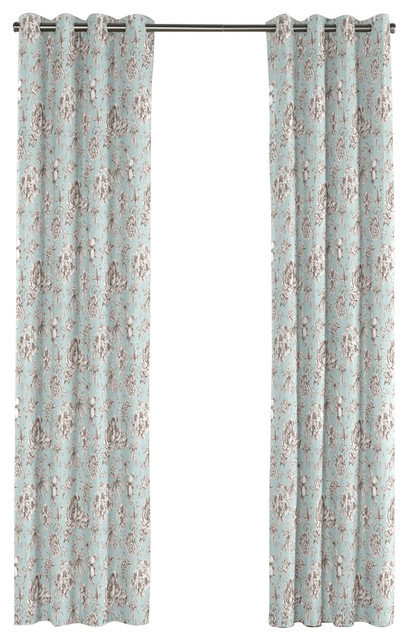 Light Blue Floral Toile Grommet Curtain Traditional Curtains By Loom Decor
