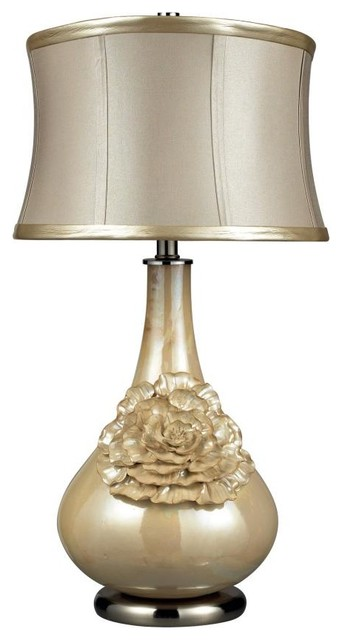 One Light Pearlescent Cream Table Lamp
