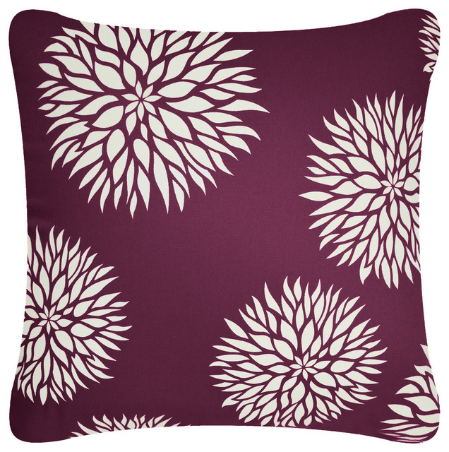 Organic Cotton Throw Pillow Inserts : Dahlia Organic Cotton Square Throw Pillow, Plum Purple, Without Insert contemporary-decorative ...