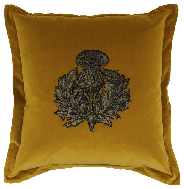 Timorous Beasties Gold Thistle Velvet Cushion - Victorian - Decorative Pillows - by Liberty