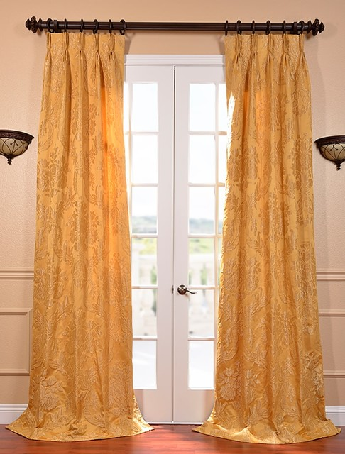 Magdelena Golden French Pleat Faux Silk Jacquard Curtain