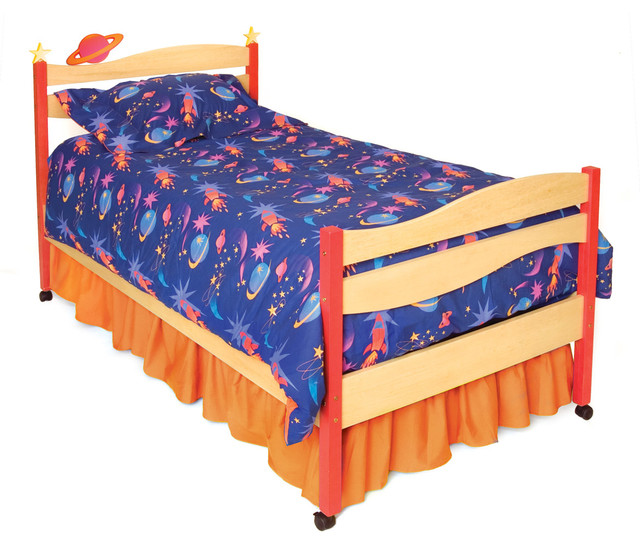 Star rocket twin bed natural transitional kids beds for Childrens rocket bed