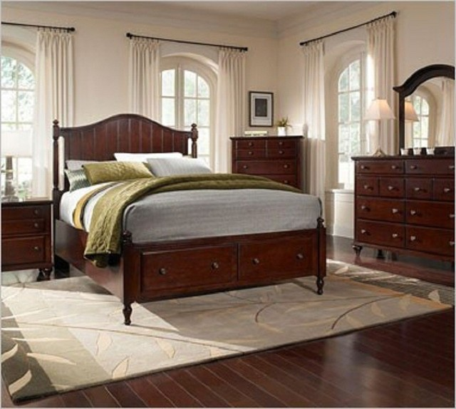 Broyhill hayden dark cherry panel bedroom set with storage 4647s traditional bedroom for Bedroom furniture salt lake city