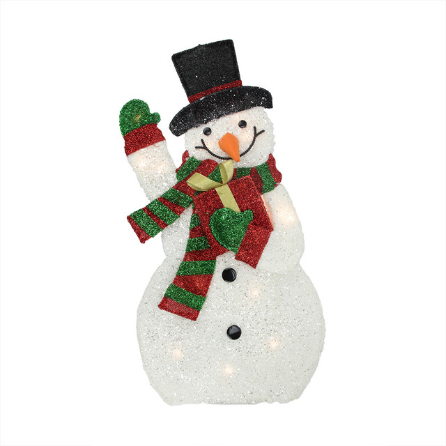 Lighted plush waving snowman with gift yard decoration 32 Traditional outdoor christmas decorations