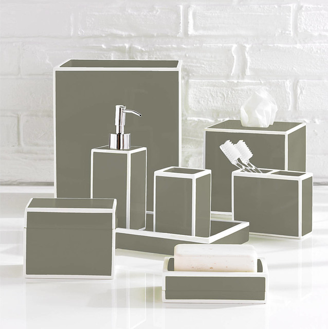 Soho grey bathroom accessories by kassatex for Grey and white bathroom accessories