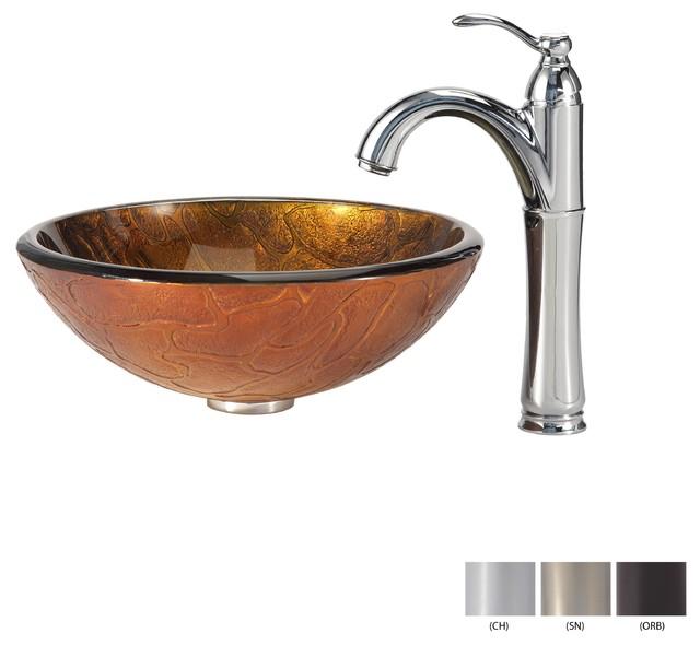 Kraus Sinks Uk : Kraus Triton Glass Vessel Sink and Riviera Faucet Satin Nickel modern ...