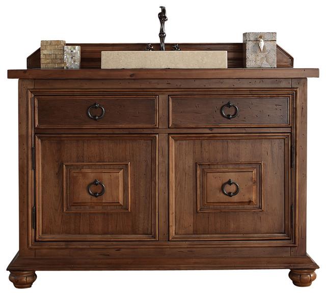 Mykonos 48 Cinnamon Single Vanity With Wood Top Rustic Bathroom Van