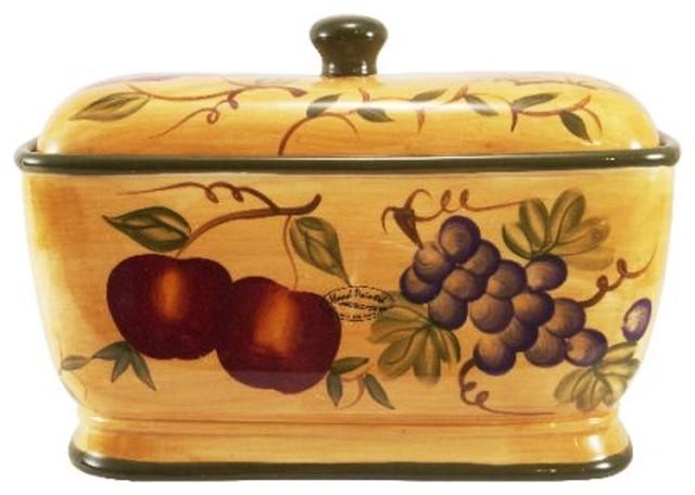 Tuscany Mixed Fruit Ceramic Bread Box Mediterranean